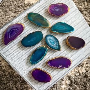 Agate magnet collection, gold trim, purple or teal